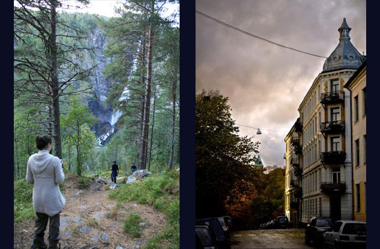 Left: A valley that inspired the Sylver setting (My grandmother had to cross it, down and up on the other side, to get to school every day as a girl!) Right: My street in Gr�nerl�kka in Oslo, where my sister and brother also live.